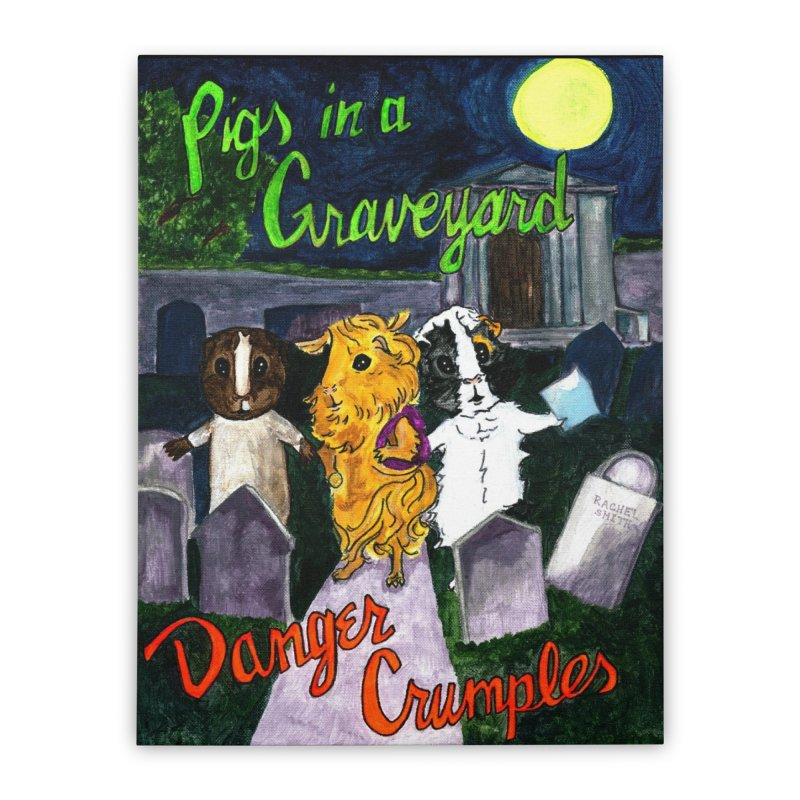 Pigs in a Graveyard Home Stretched Canvas by Guinea Pigs and Books