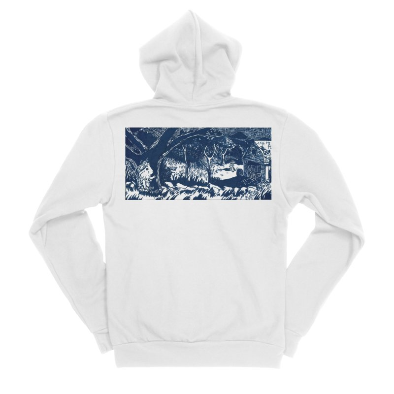 Danger Drew spying on a very suspicious digging Finny Women's Sponge Fleece Zip-Up Hoody by Guinea Pigs and Books