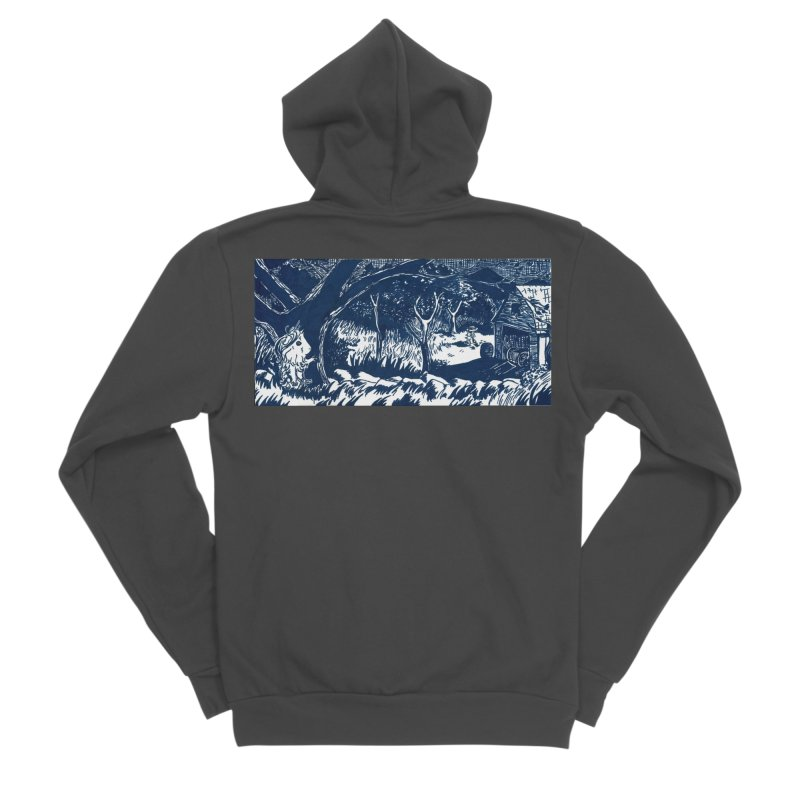 Danger Drew spying on a very suspicious digging Finny Men's Sponge Fleece Zip-Up Hoody by Guinea Pigs and Books