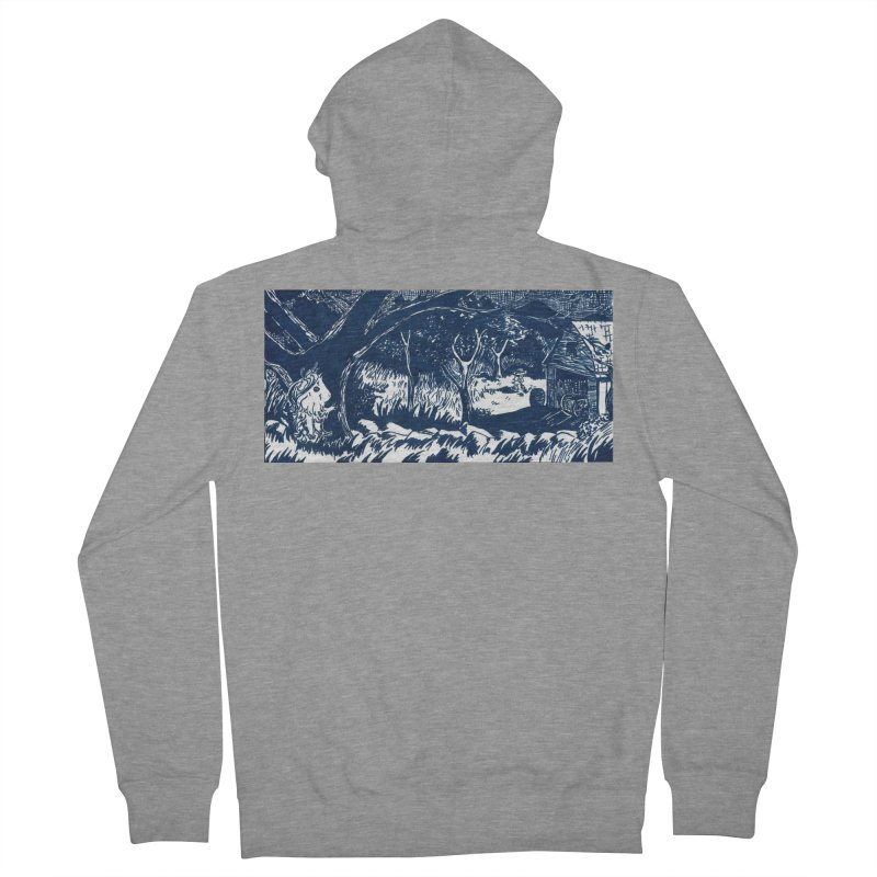 Danger Drew spying on a very suspicious digging Finny Men's French Terry Zip-Up Hoody by Guinea Pigs and Books
