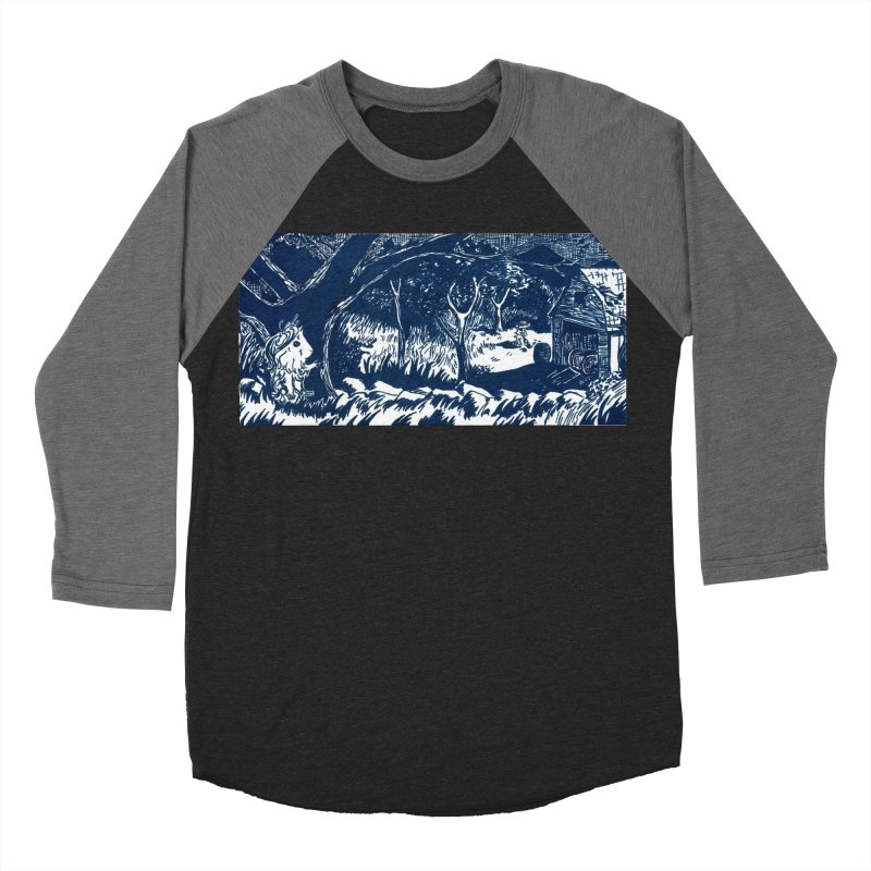 Danger Drew spying on a very suspicious digging Finny Women's Baseball Triblend Longsleeve T-Shirt by Guinea Pigs and Books