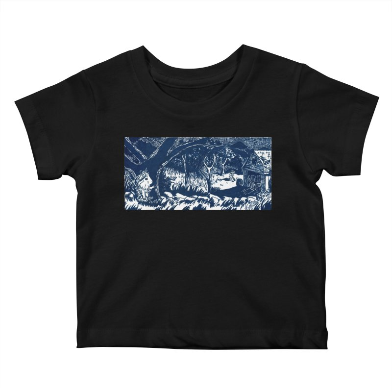 Danger Drew spying on a very suspicious digging Finny Kids Baby T-Shirt by Guinea Pigs and Books