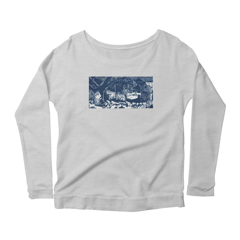 Danger Drew spying on a very suspicious digging Finny Women's Scoop Neck Longsleeve T-Shirt by Guinea Pigs and Books