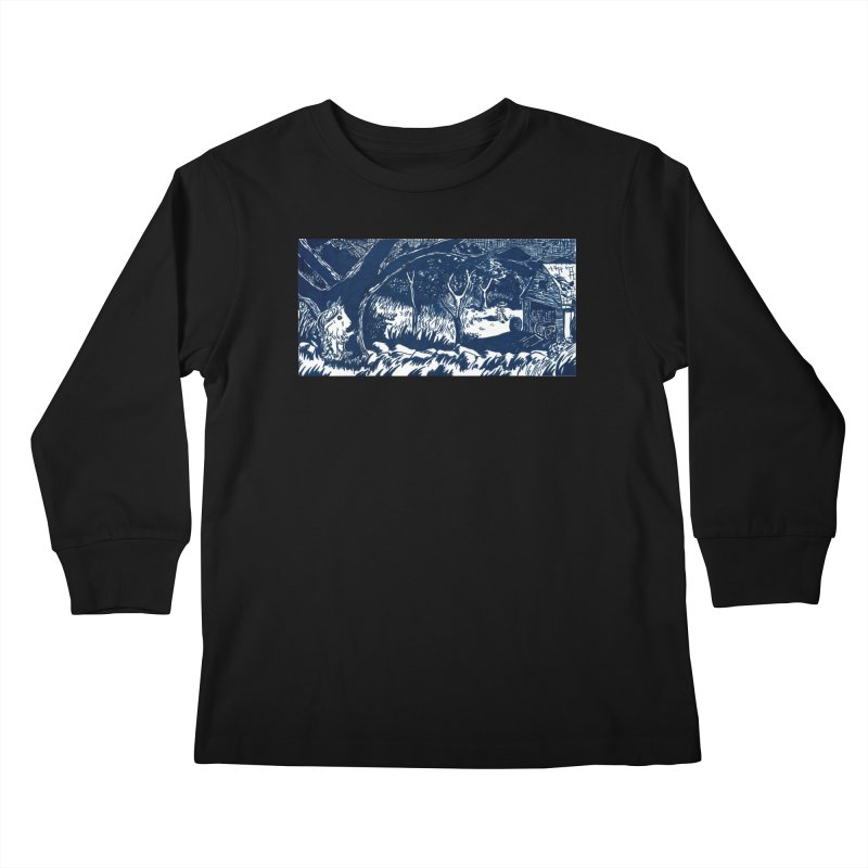 Danger Drew spying on a very suspicious digging Finny Kids Longsleeve T-Shirt by Guinea Pigs and Books