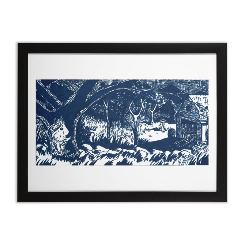 Danger Drew spying on a very suspicious digging Finny Home Framed Fine Art Print by Guinea Pigs and Books