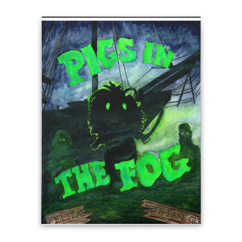 Pigs in the Fog Home Stretched Canvas by Guinea Pigs and Books