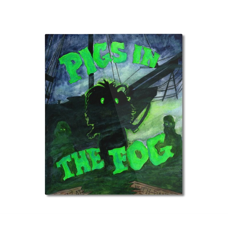 Pigs in the Fog Home Mounted Aluminum Print by Guinea Pigs and Books