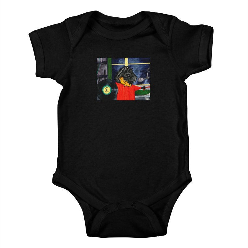 Pigs in the Fog - Merricat DJing Kids Baby Bodysuit by Guinea Pigs and Books