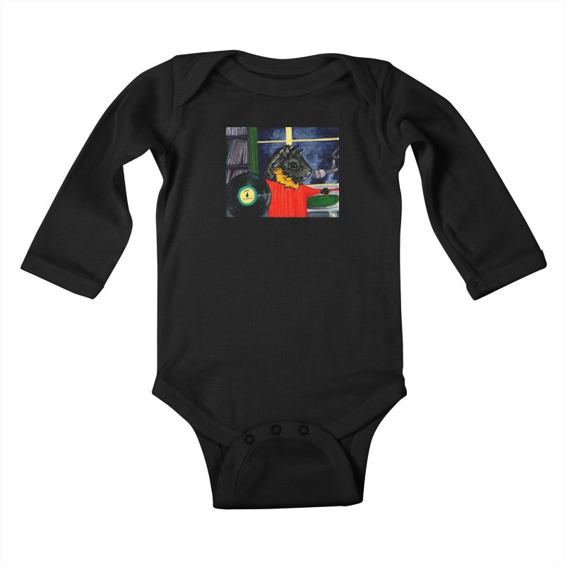 Pigs in the Fog - Merricat DJing Kids Baby Longsleeve Bodysuit by Guinea Pigs and Books