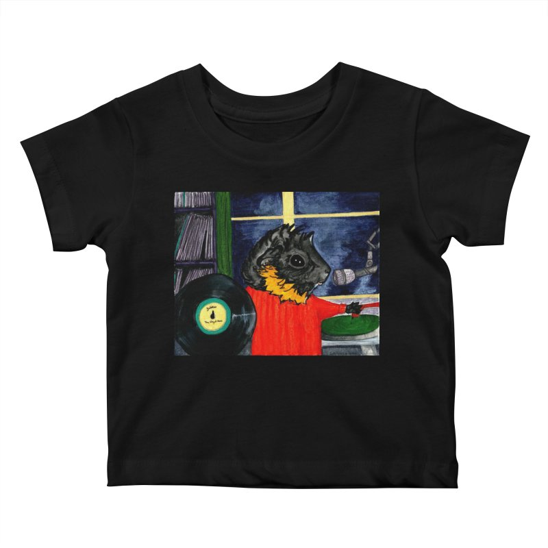 Pigs in the Fog - Merricat DJing Kids Baby T-Shirt by Guinea Pigs and Books