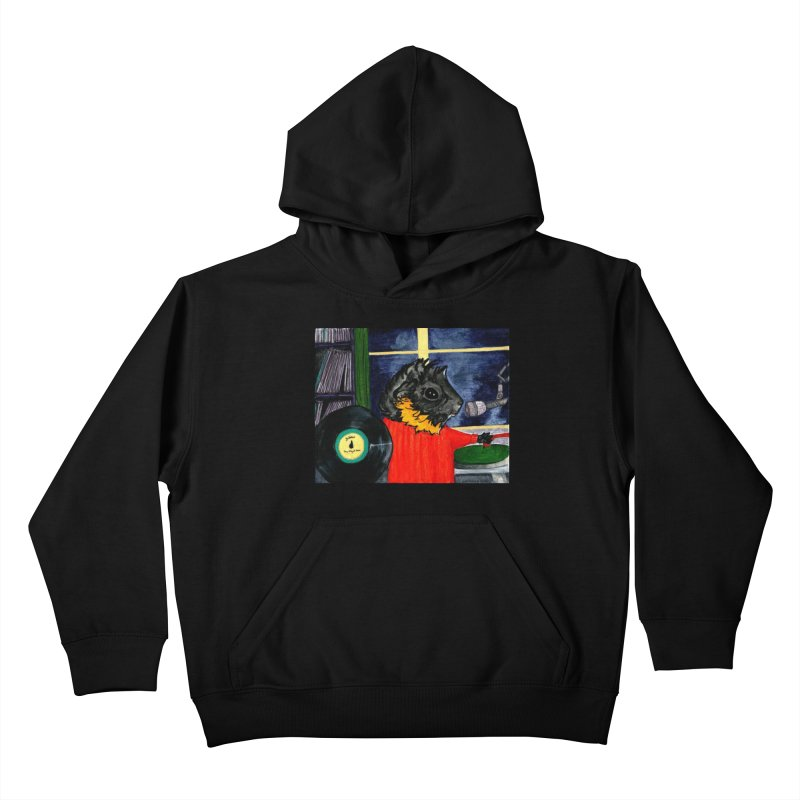 Pigs in the Fog - Merricat DJing Kids Pullover Hoody by Guinea Pigs and Books