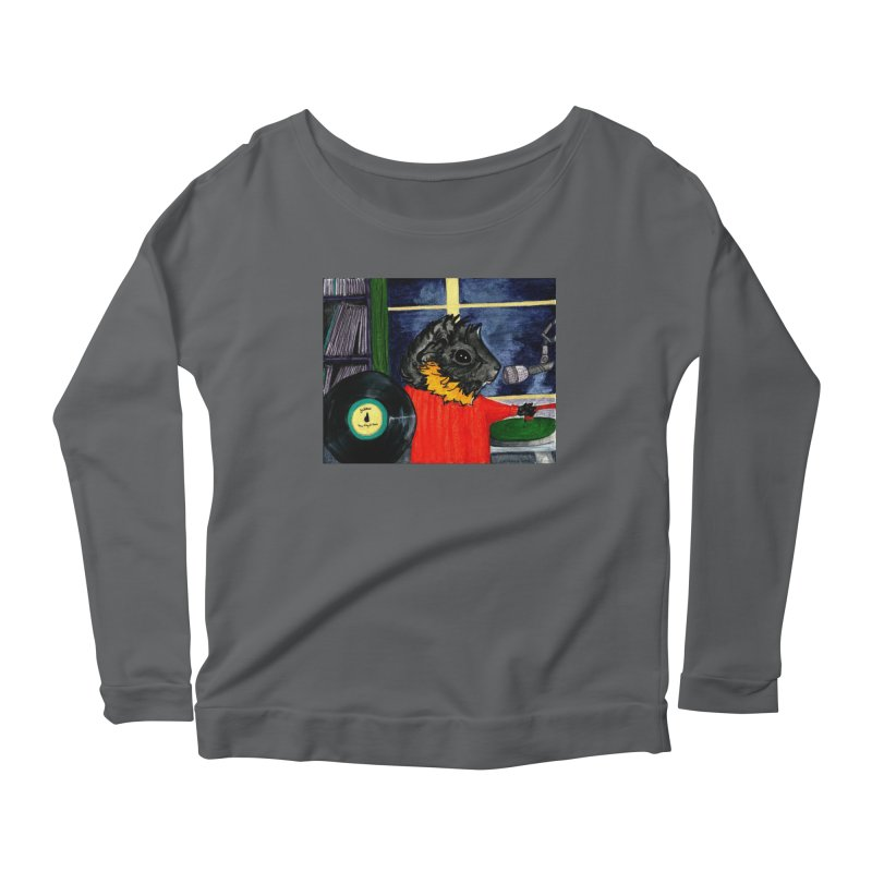 Pigs in the Fog - Merricat DJing Women's Scoop Neck Longsleeve T-Shirt by Guinea Pigs and Books