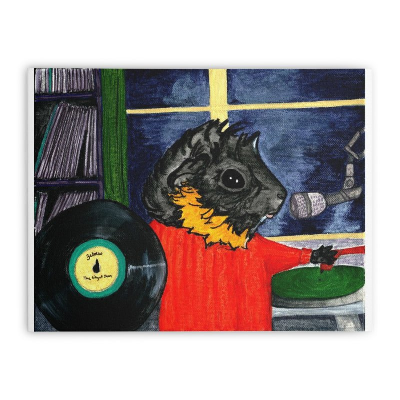 Pigs in the Fog - Merricat DJing Home Stretched Canvas by Guinea Pigs and Books