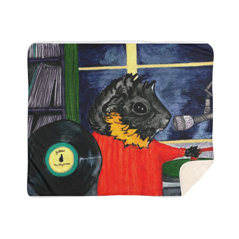 Pigs in the Fog - Merricat DJing Home Sherpa Blanket Blanket by Guinea Pigs and Books