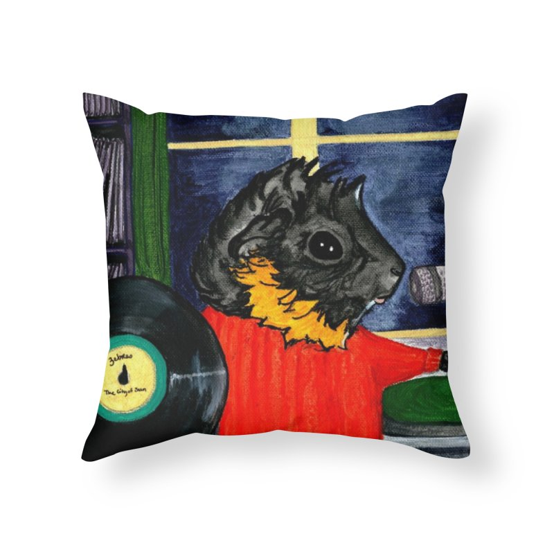 Pigs in the Fog - Merricat DJing Home Throw Pillow by Guinea Pigs and Books