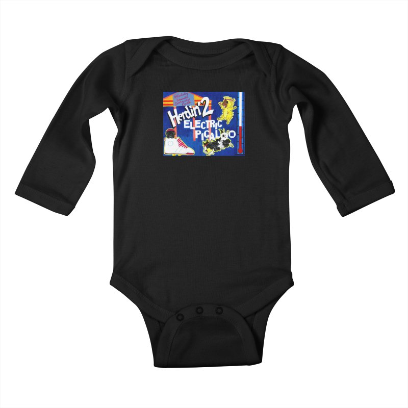 Herdin' 2: Electric Pigaloo Kids Baby Longsleeve Bodysuit by Guinea Pigs and Books