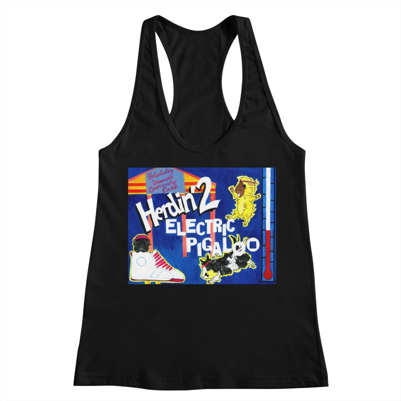 Herdin' 2: Electric Pigaloo Women's Racerback Tank by Guinea Pigs and Books