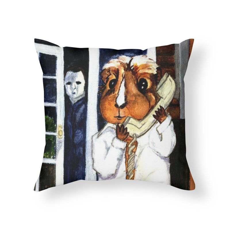 Pigoween - Peregrine is on the Phone Home Throw Pillow by Guinea Pigs and Books