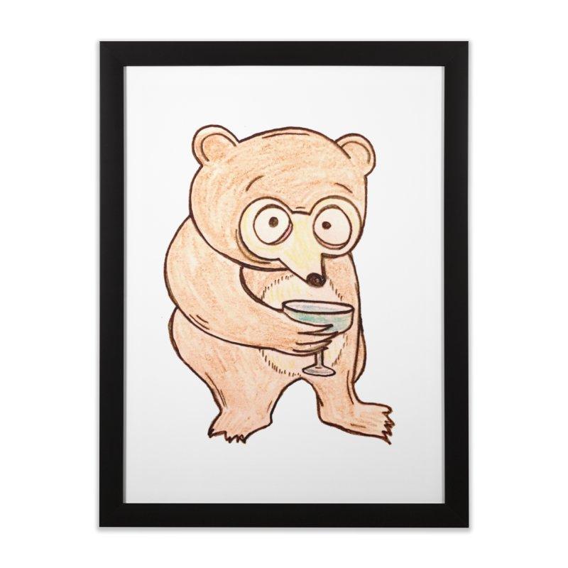 Sad Bear Margarita Home Framed Fine Art Print by The Gummy Arts Shop
