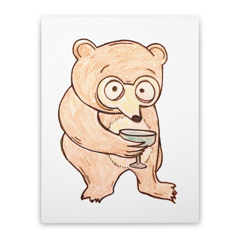 Sad Bear Margarita Home Stretched Canvas by The Gummy Arts Shop