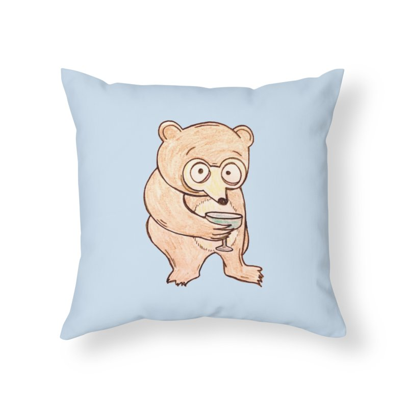 Sad Bear Margarita Home Throw Pillow by The Gummy Arts Shop