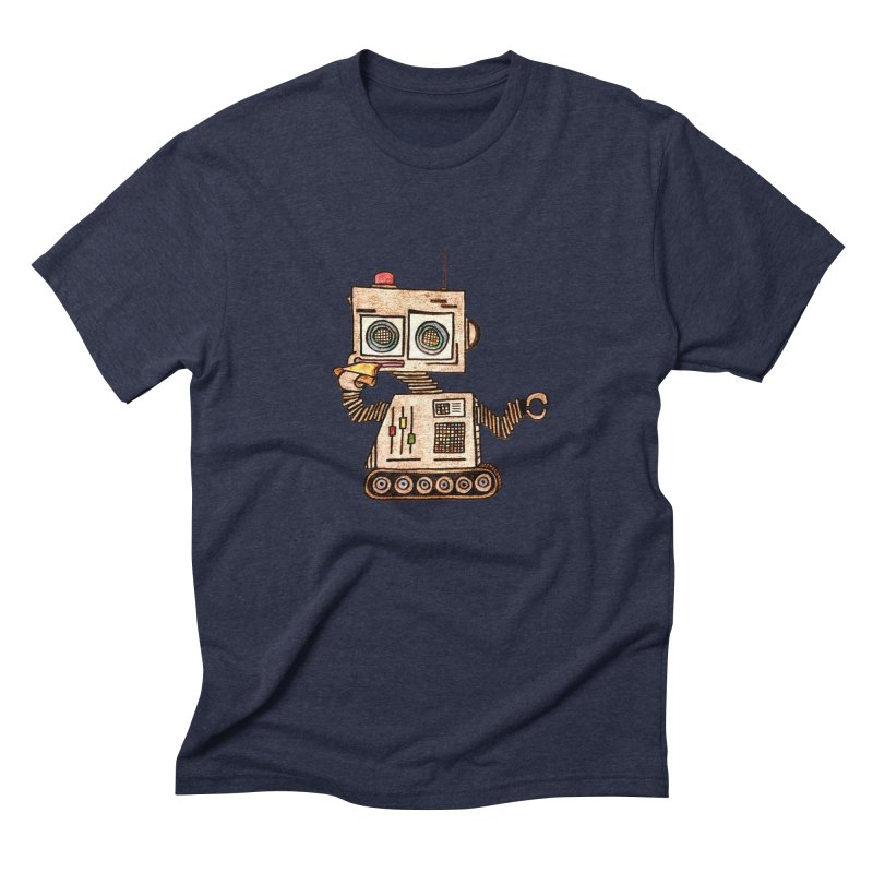 Pizza Robot Men's Triblend T-Shirt by The Gummy Arts Shop