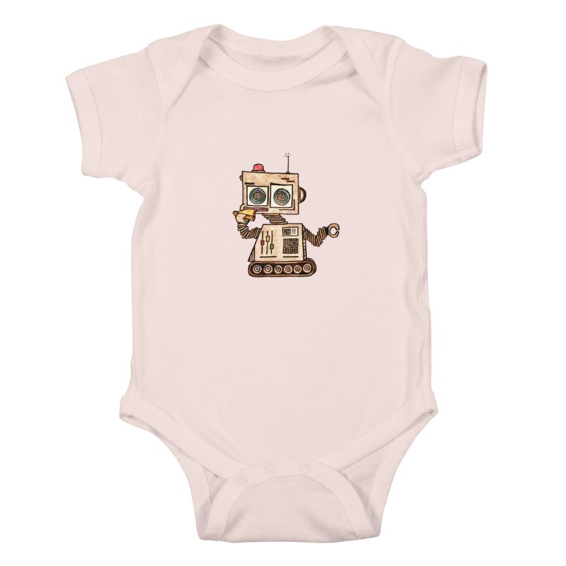 Pizza Robot Kids Baby Bodysuit by The Gummy Arts Shop