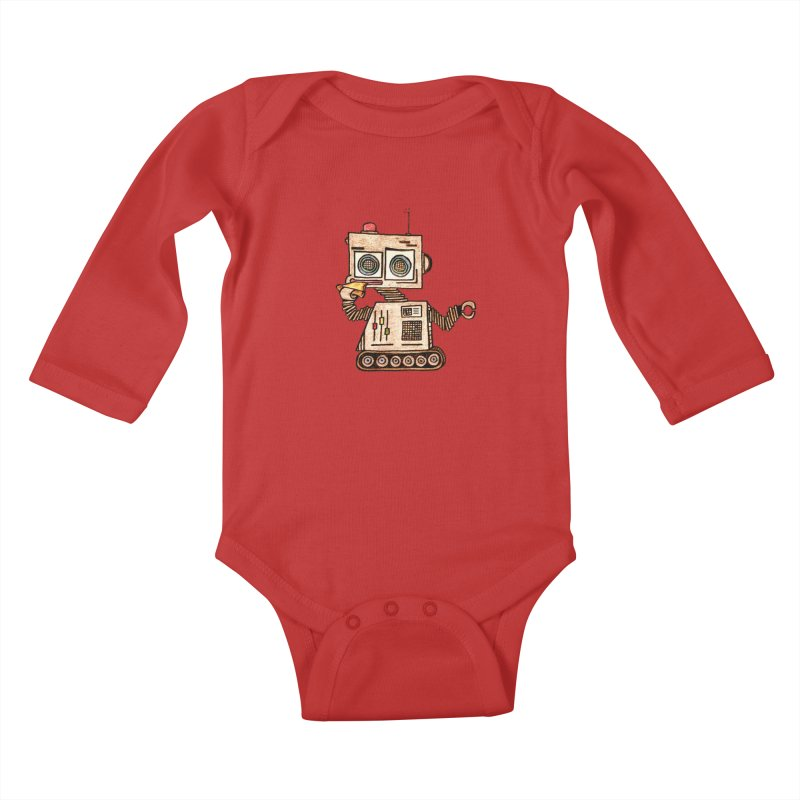 Pizza Robot Kids Baby Longsleeve Bodysuit by The Gummy Arts Shop