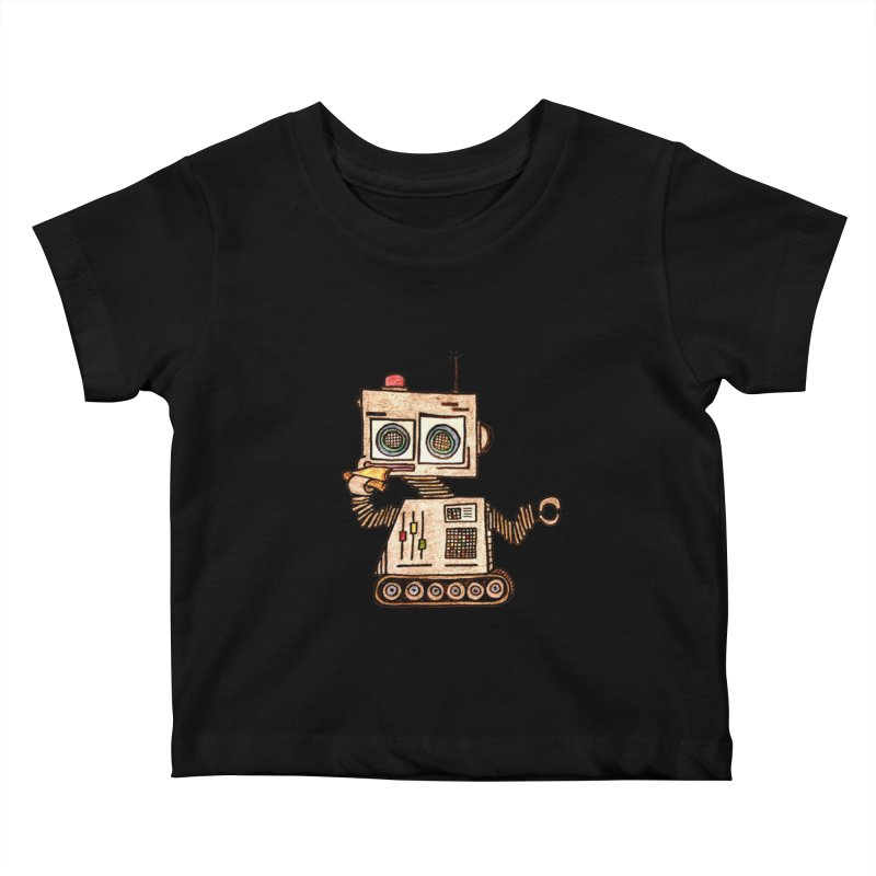 Pizza Robot Kids Baby T-Shirt by The Gummy Arts Shop