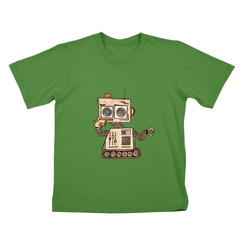 Pizza Robot Kids T-Shirt by The Gummy Arts Shop