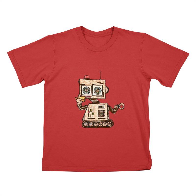 Pizza Robot Kids T-Shirt by The Gummy Arts Shop