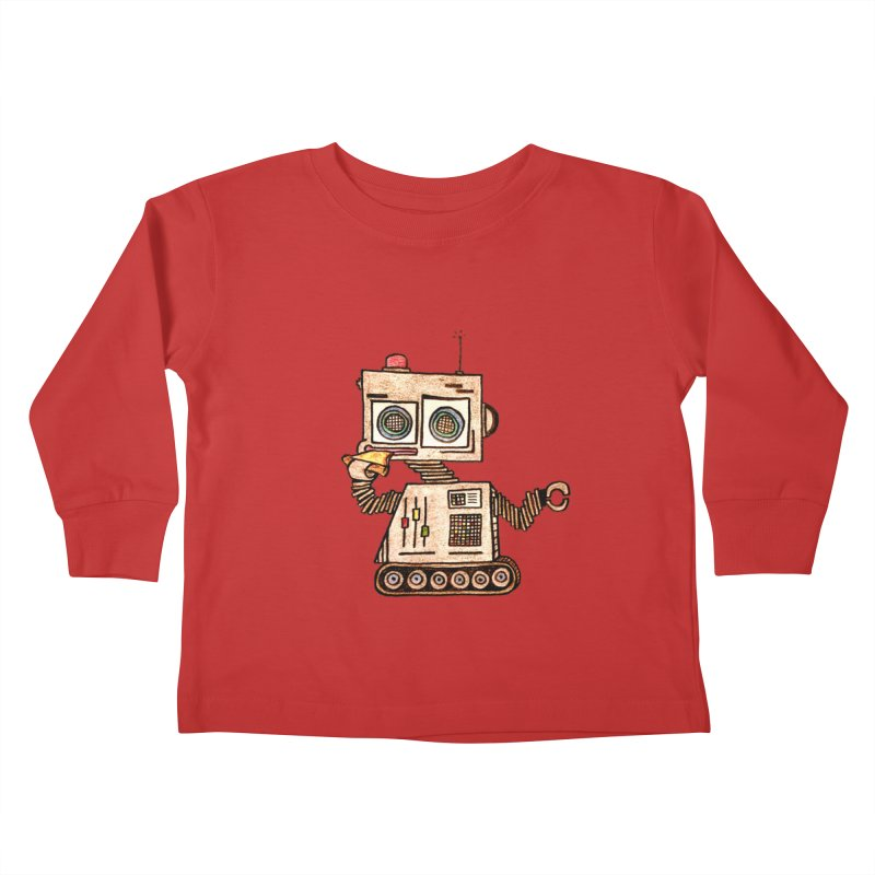 Pizza Robot Kids Toddler Longsleeve T-Shirt by The Gummy Arts Shop