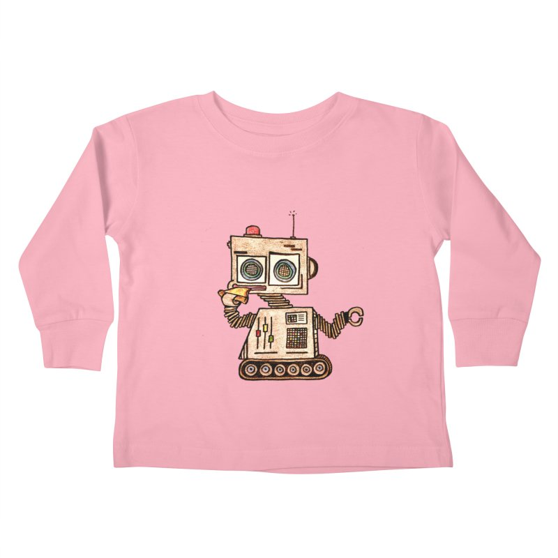 Pizza Robot Kids Toddler Longsleeve T-Shirt by The Gummy Arts Shop