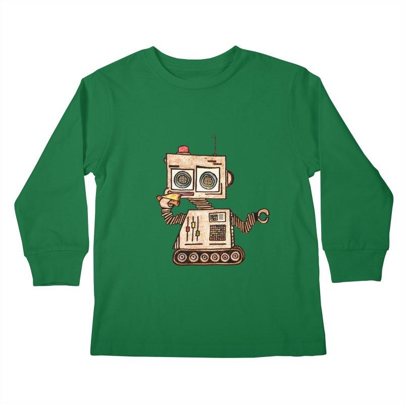 Pizza Robot Kids Longsleeve T-Shirt by The Gummy Arts Shop