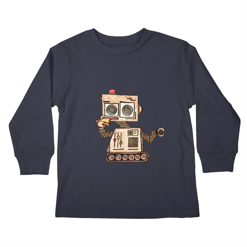 Pizza Robot Kids Longsleeve T-Shirt by The Gummy Arts Shop