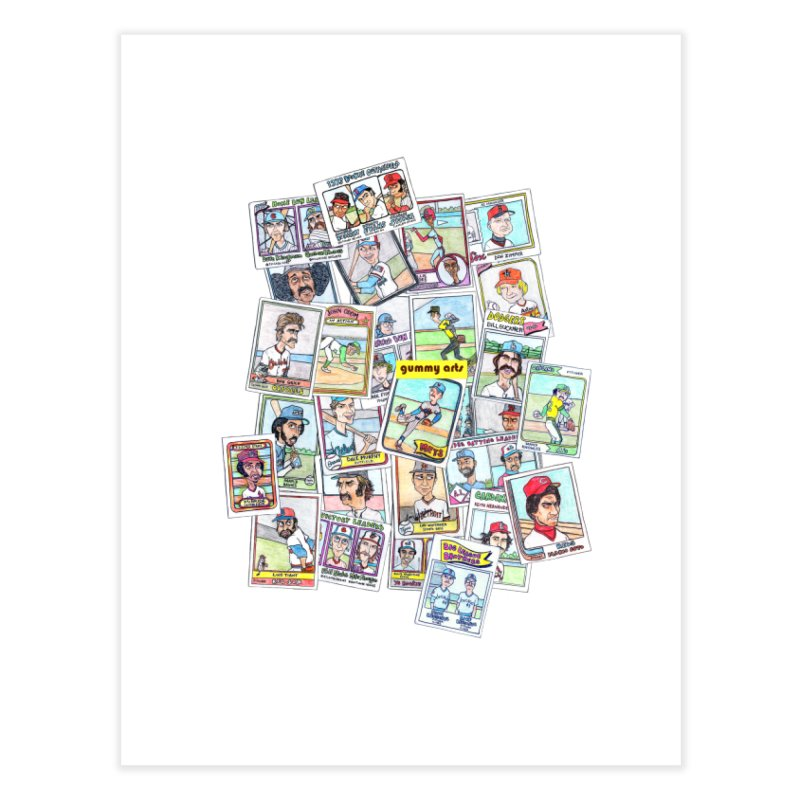 Baseball Cards Home Fine Art Print by The Gummy Arts Shop