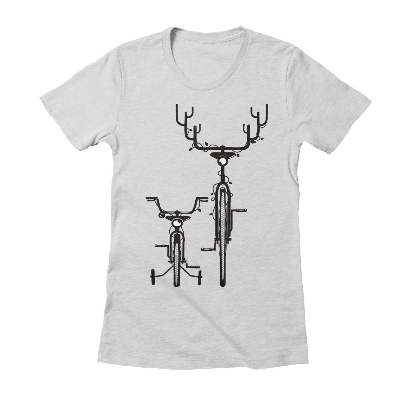 Deer Bicycle Women's Fitted T-Shirt by gums's Artist Shop