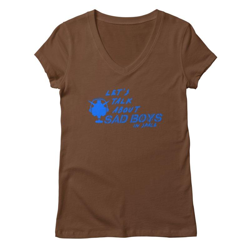 Sad Bois Blue Women's Regular V-Neck by Mobile Suit Breakdown's Shop