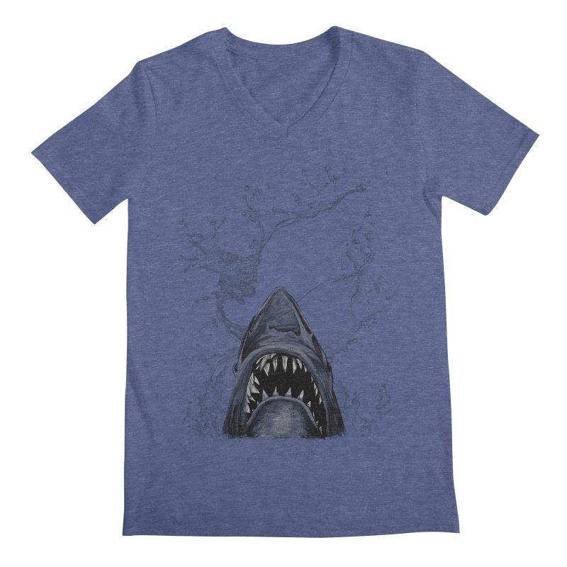 shark Men's V-Neck by gupikus's Artist Shop