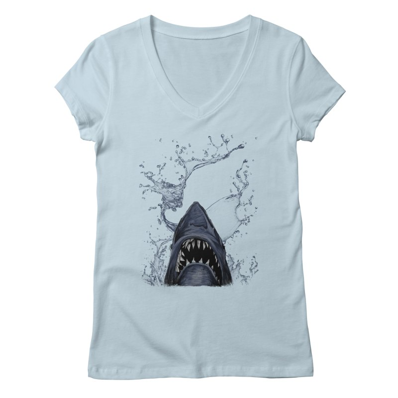 shark Women's V-Neck by gupikus's Artist Shop