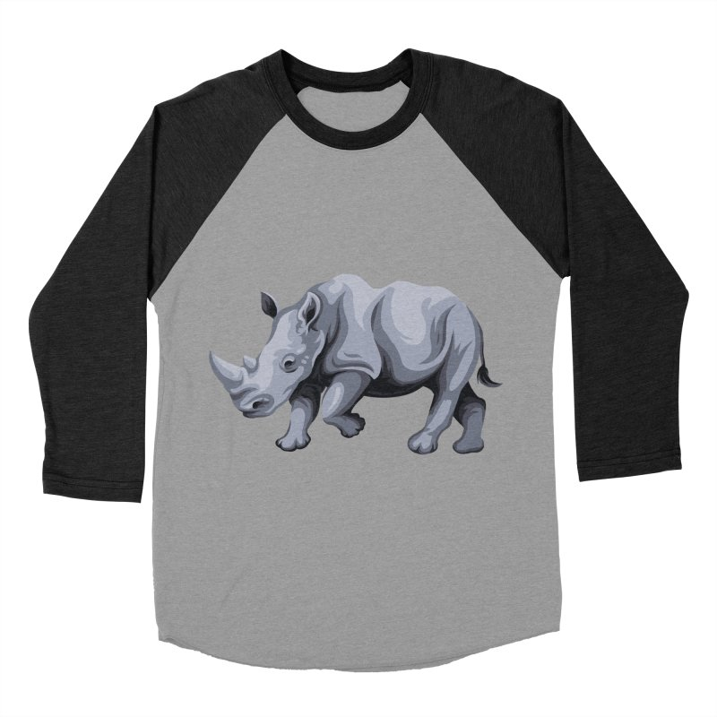 rhinoceros Men's Baseball Triblend T-Shirt by gupikus's Artist Shop