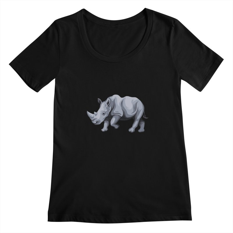 rhinoceros Women's Scoopneck by gupikus's Artist Shop