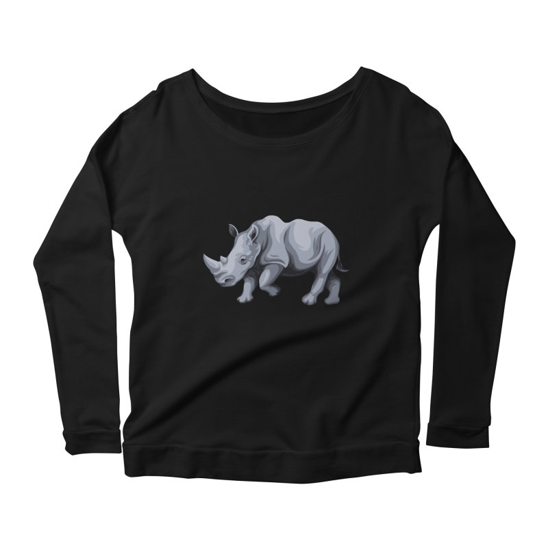 rhinoceros Women's Longsleeve Scoopneck  by gupikus's Artist Shop
