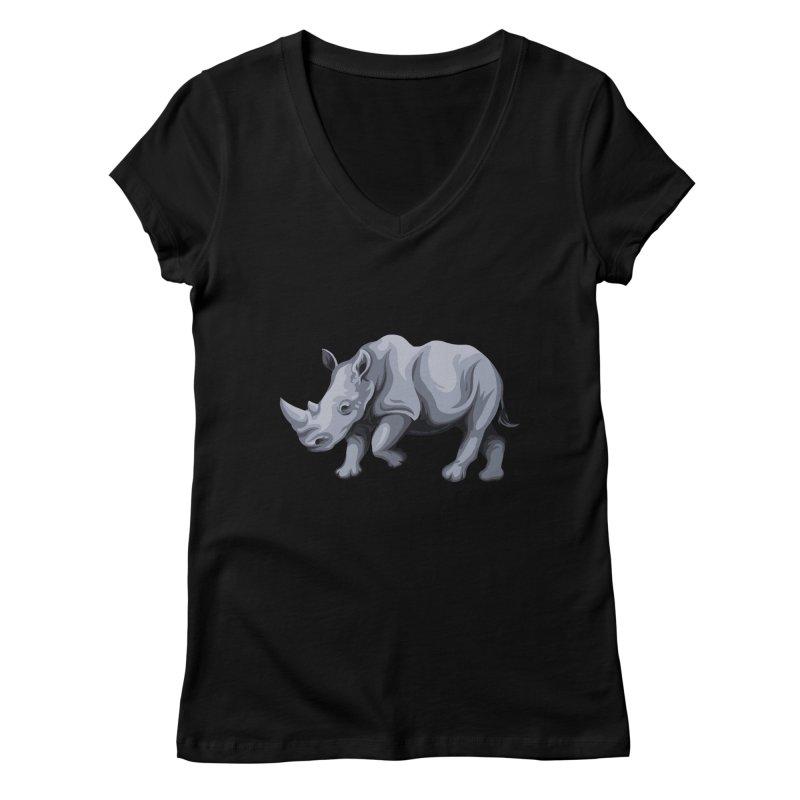 rhinoceros Women's V-Neck by gupikus's Artist Shop
