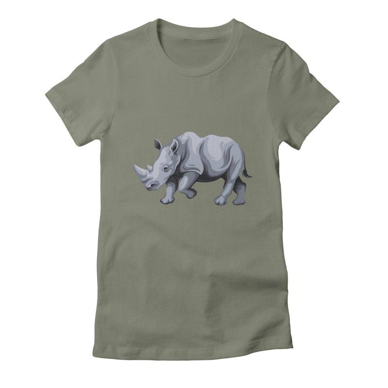 rhinoceros Women's Fitted T-Shirt by gupikus's Artist Shop