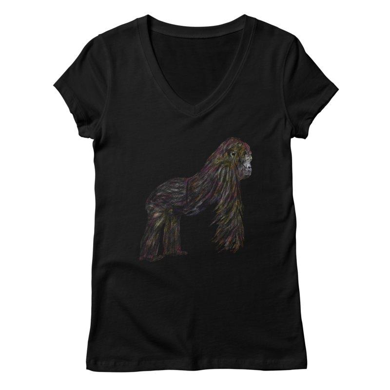 gorilla Women's V-Neck by gupikus's Artist Shop