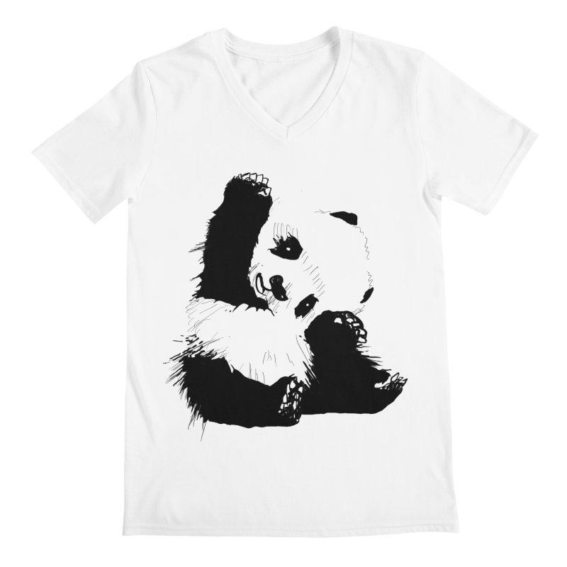 hallo panda Men's V-Neck by gupikus's Artist Shop