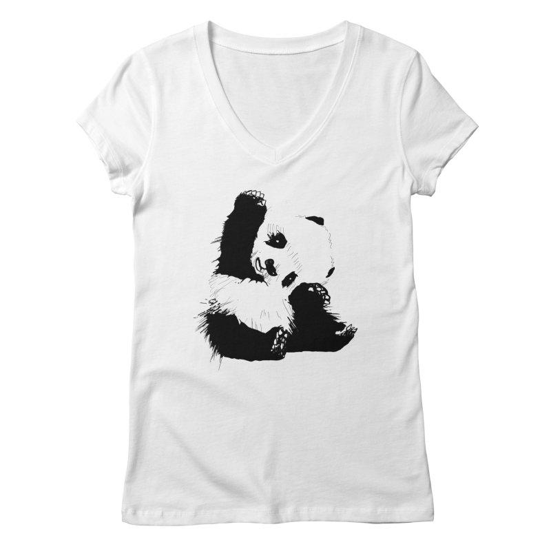 hallo panda Women's V-Neck by gupikus's Artist Shop