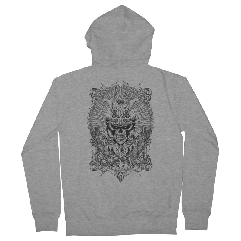 ornamental samurai skull Men's French Terry Zip-Up Hoody by gupikus's Artist Shop