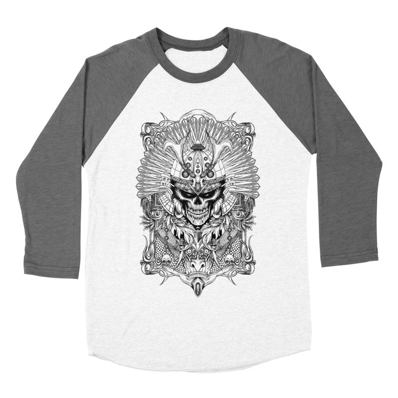 ornamental samurai skull Men's Baseball Triblend Longsleeve T-Shirt by gupikus's Artist Shop